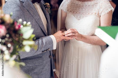 Ringtausch während der Hochzeit Canvas Print