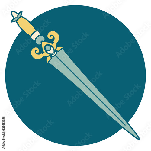 Cuadros en Lienzo tattoo style icon of dagger