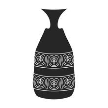 Flower Vase Vector Icon.Black Vector Icon Isolated On White Background Flower Vase .