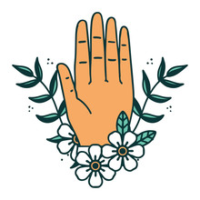 Tattoo Style Icon Of A Hand An...