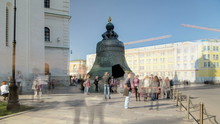 View Of The Tsar-bell King Bell In Moscow Kremlin, A Popular Touristic Landmark Timelapse . Russia