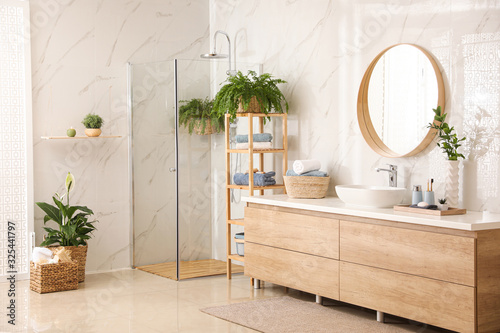 Photographie Stylish bathroom interior with countertop, shower stall and houseplants