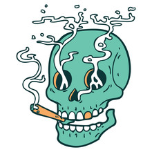 Tattoo Style Icon Of A Skull Smoking