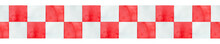 Seamless Repeatable Border Of Grungy Red And White Checkered Ribbon. Hand Drawn Watercolour Illustration, Isolated Clip Art Element For Design Decoration, Scrapbooking, Banner, Website, Card, Sticker.