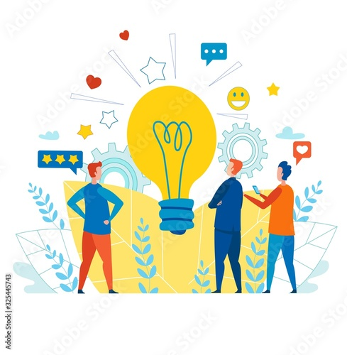 Fototapety, obrazy: Creative Male Team Working with Idea for Social Media. Metaphor Light Bulb Cartoon with SNS Icons, Smiles, Gear Wheels. Business Software and Global Network Media. Vector Flat Illustration