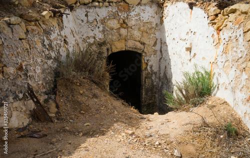 entrance of defensive artillery concrete fort, bunker built during the Second Wo Canvas Print