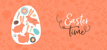 Happy Easter Hand Drawn Rabbit And Egg Banner
