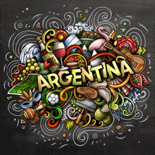 Argentina Hand Drawn Cartoon Doodles Illustration. Funny Design.