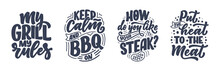 Set With Bbq Fun Slogans, Grea...