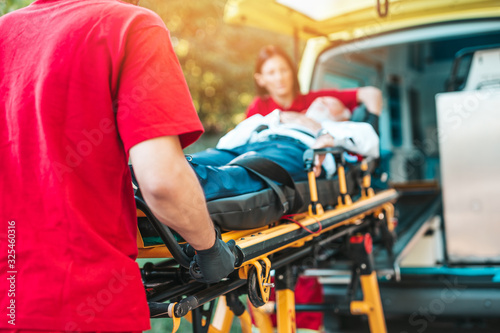 Emergency medical service at work Canvas Print