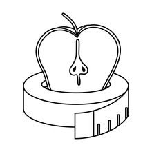 Apple Fresh Fruit With Tape Me...