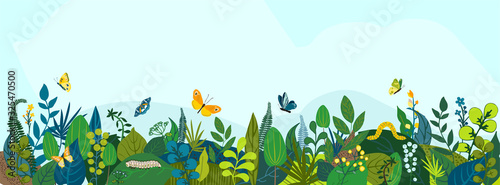 Beautiful floral background, panorama. Leaves, colorful flowers, caterpillars, butterflies. Bright spring and summer banner for cover social network, invitation, wedding, holiday. Vector illustration. - fototapety na wymiar