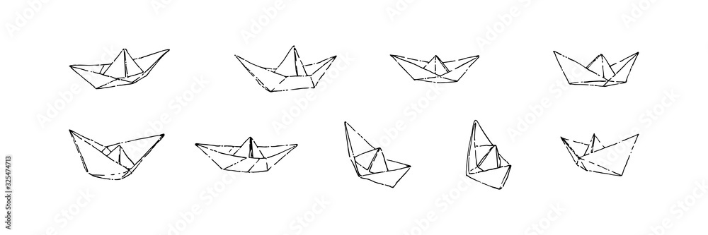 Fototapeta Hand drawn paper boats set, ink drawing sketch vector illustration, black isolated origami on white background