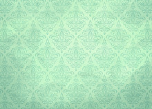 Soft Pale Pastel Seafoam Mint Damask Wallpaper Pattern Texture With Watercolor Stains
