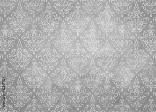 Desaturated Gray Damask Wallpaper Pattern Texture With Watercolor Stains