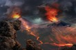 lava landscape with volcano and fire