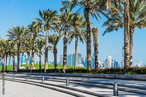 Corniche  Seaside  Promenade Park on the Persian Gulf in Doha, Qatar, Middle Eas Canvas Print