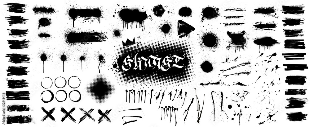 Fototapeta Extensive collection of black paint, great elaboration, spray graffiti stencil template ink brush strokes, brushes, lines. Paint splats blotches. Ink splashes stencil, Isolated vector set, grunge