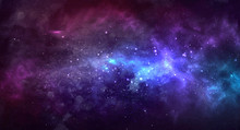 Vector Cosmic Illustration. Colorful Space Background With Stars