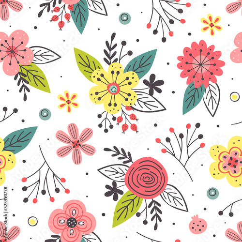 Fototapety, obrazy: floral seamless pattern on white background  - vector illustration, eps