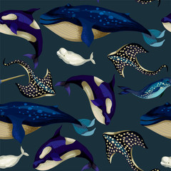Fototapeta Do łazienki Seamless pattern with whale, devilfish, orca and octopus. Vector.