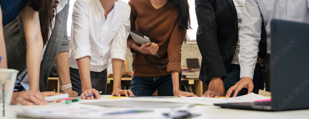 Fototapeta business people team meeting in modern office working design planning and ideas concept