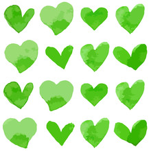 Watercolor Style Vector Illustration Of Green Hearts For Valentine's Day Card Set