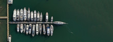 Aerial Drone Top Down Ultra Wide Photo Of Yachts And Sail Boats Docked In Mediterranean Port