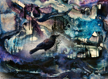 Crow Figure In A Strange Abstract Landscape