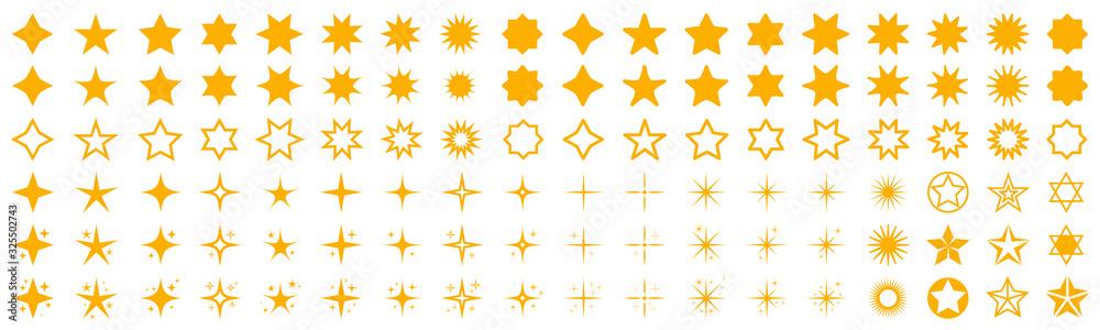 Fototapeta Stars set icons. Rating star signs collection – stock vector - obraz na płótnie