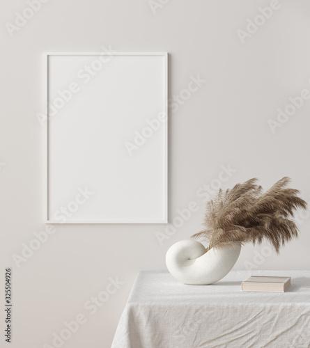 Fototapeta Mock up frame close up with dry grass in vase on table, Scandinavian style, 3d render obraz