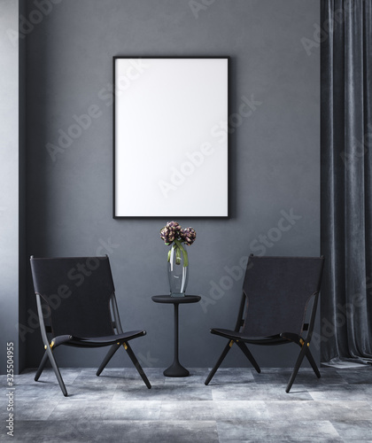Mock up poster in black modern living room, industrial style, 3d render Fototapete