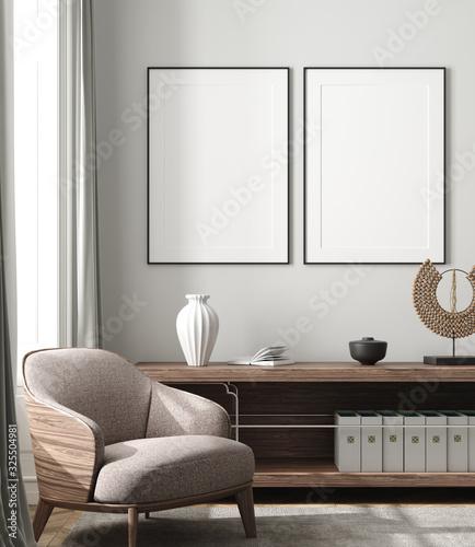 Obraz Mockup poster in modern living room interior background, 3D render - fototapety do salonu