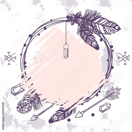Photo Boho style wreath with feathers, crystals and arrows, vector illustration