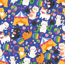 Seamless Pattern With Funny Circus Cats, Cute Isolated Cartoon Characters, Vector Illustration. Wrapping Paper Or Fabric Print For Children, Trained Animals Performing Circus Stunts, Many Cute Cats