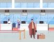 People passengers characters waiting for boarding plane. Vector flat graphic cartoon design illustration