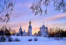 Beautiful Sky At Sunset A City, Vologda Kremlin