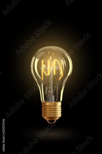 Vector realistic glowing lamp hanging on the wire. Incandescent lamp isolated on transparent background. Electric lightbulb, symbol of creative ideas. Decorative Retro design edison light bulb Wall mural