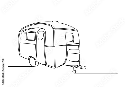 Fotografie, Tablou Continuous one line drawing of motorhome