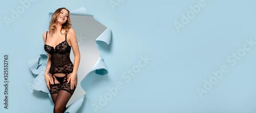 Obraz Lingerie model posing in studio. - fototapety do salonu