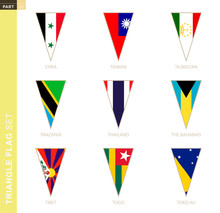 Triangle Flag Set, Stylized Country Flags.