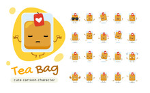 A Mascot Of The Tea Bag. Isolated Vector Illustration