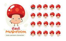 A Mascot Of The Red Mushroom. Isolated Vector Illustration