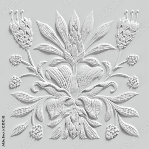 Photo 3d render, white floral carving, gypsum wall decor, carved stone tile, botanical
