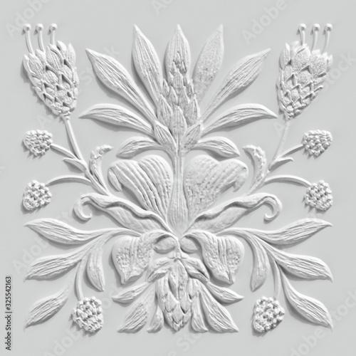3d render, white floral carving, gypsum wall decor, carved stone tile, botanical Wallpaper Mural