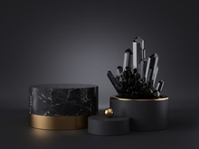 3d Abstract Modern Minimal Black Background, Dark Crystal Nugget Inside Cylinder Vase, Blank Mockup, Showcase Stand, Empty Marble Podium, Shop Product Display, Isolated Objects, Fashion Premium Design