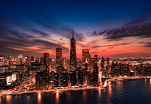 Chicago Cityscape Aerial View At Twilight