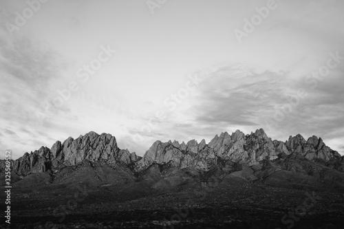 Black and White Desert Mountain Range