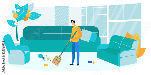 Guy Sweeping Living Room Flat Vector Illustration Canvas Print