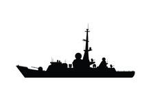 Battle Ship Silhouette Vector,...